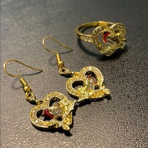 Jewelry - 24K Gold Plated Robin Ring and Earring Set